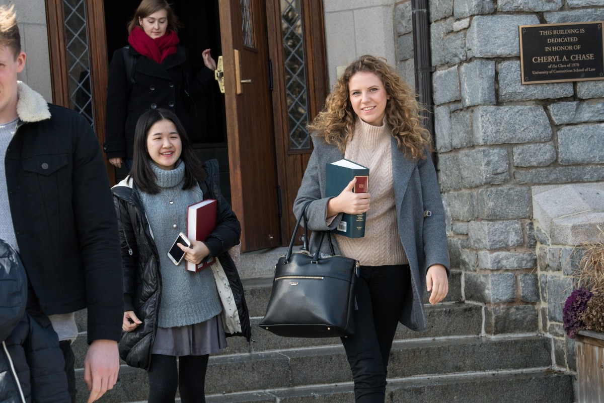 University of Connecticut School of Law - Female students on steps