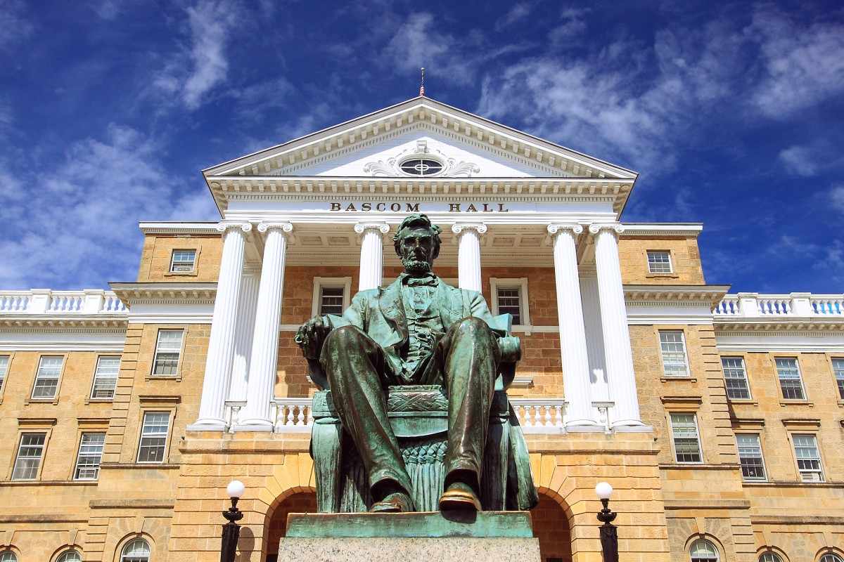 Lincoln statue in front of Bascom Hall at University of Wisconsin. Source: Shutterstock/Aeypix.